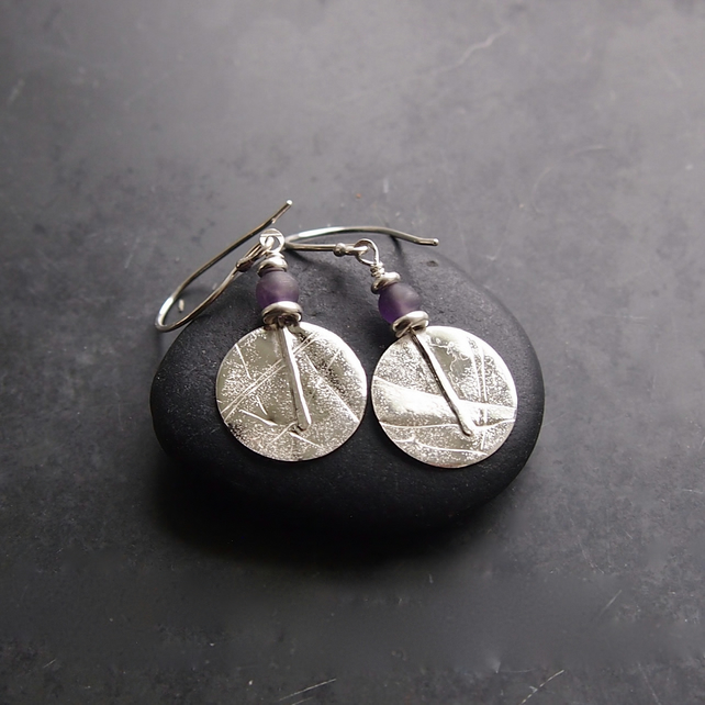 Sterling Silver Textured Disc Earrings with Amethyst