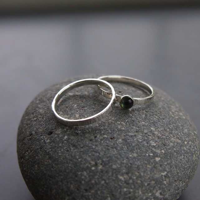 Duo of Sterling Silver Rings with Green Tourmaline