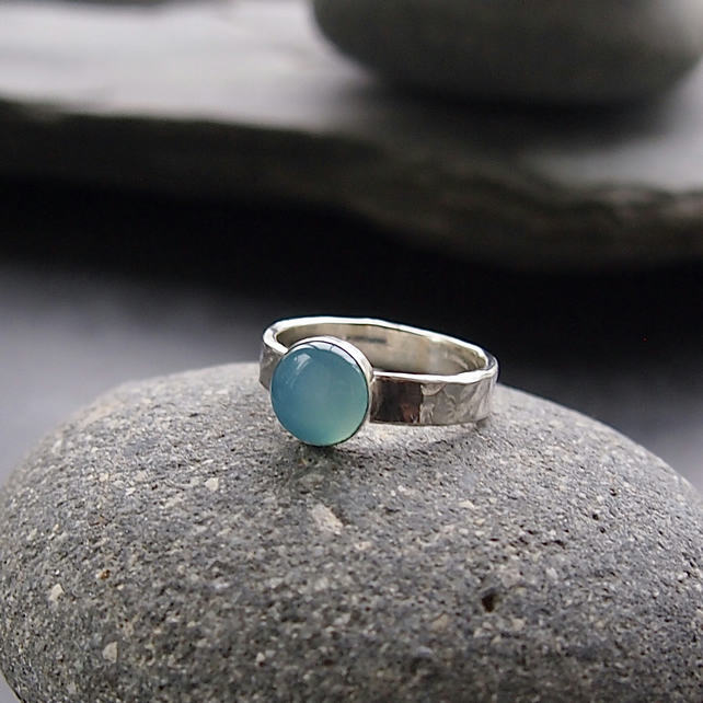Sterling Silver Textured Band with Sea Agate