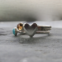 Heart Trio of Sterling Silver Rings - Choose your own Cabochons