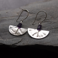 Sterling Silver Textured Semi Circle Earrings with Amethyst