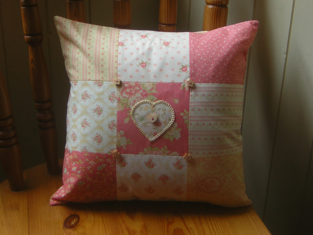 Heart patchwork cushion hand embroidered applique folksy