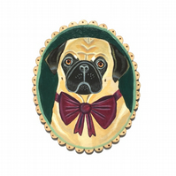 Horatio the dapper Pug, original animal art dog painting on wood