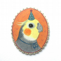 Herb the cockatiel parrot, original animal bird art painting on wood. OOAK