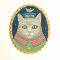 Silver the cat in her pillbox hat, original animal painting on wood