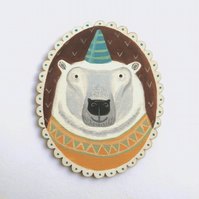 Amos the party polar bear, original animal art painting on wood