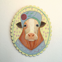 Maeve the Cow in her fancy hat, original animal art painting on wood