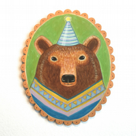 Alan the party bear, original animal art painting on wood