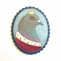 Prince Pigeon, original bird animal art painting on wood