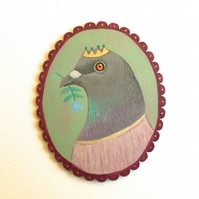 Princess Pigeon, original bird animal art painting on wood
