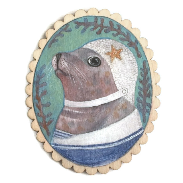 Gertie the seal - OOAK painting - by menagerie/Emma Gray