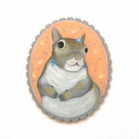 Little squirrel girl portrait, original animal painting on wood