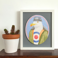 Mr Chips the Mod Seagull, original framed painting on wood