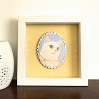 Aria the cat with different coloured eyes, original framed painting on wood