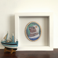 Gertie the seal in her starfish bathing cap, framed original animal painting