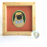 Clement the pug in his bowtie, framed original animal painting