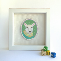 Isaac the sheep in his knitted jumper, framed original animal painting