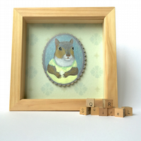 Fern the squirrel with her little egg, framed original animal painting