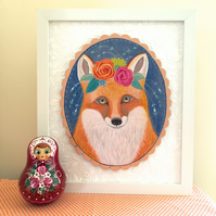Ginger the floral fox, original framed painting on wood