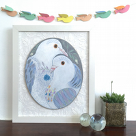 Two Doves, original framed bird painting on wood