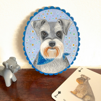 Hector the schnauzer dog, original animal painting on wood