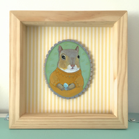 Jacob the squirrel with his little egg, framed original animal painting