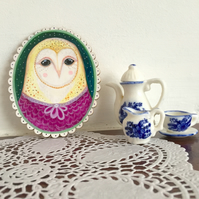 Rose the owl in her nightie, little bird painting on wood. Original