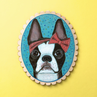 Stella the Boston Terrier, original animal dog painting on wood