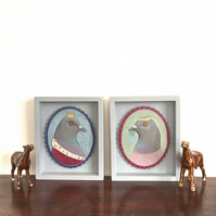 Prince and Princess Pigeon, framed original bird paintings