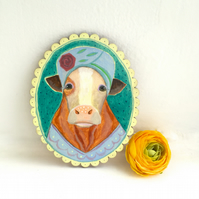 Roisin the Cow in her fancy hat, original animal art painting on wood