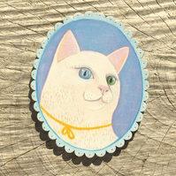 Aria the cat with different coloured eyes, original painting on wood