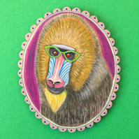 Barbara the Mandrill, original monkey animal painting on wood