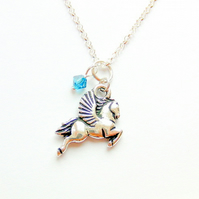 Pegasus necklace - princess jewellery - sterling silver Swarovski crystals