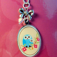 Cute WISE OWL cameo necklace Swarovski crystal with bow sterling silver