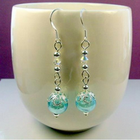 Bridal bridesmaid SOMETHING BLUE earrings swarovski crytals sterling silver