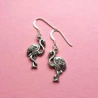 Flamingo earrings - tropical beach jewellery - summer animal earrings