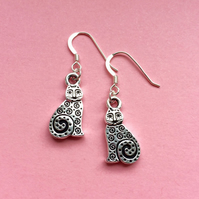 Silver cat earrings - cat lover jewellery gift idea