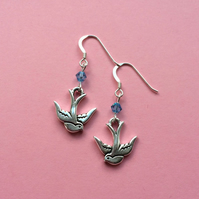 Silver bird earrings - Swarovski jewellery gift for her