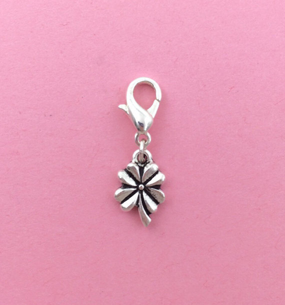 Four leaf clover clip on charm