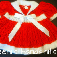 Hand Knitted lace dress with sailor collar