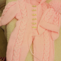 Baby girl  aran Onesie and  hat  set