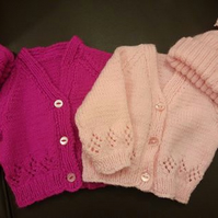 girls cardigan and bobble hat set
