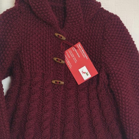 Girls aran hooded  swing coat - Burgundy -  made to order