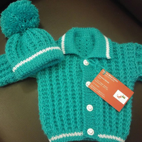 Hand knit  jacket and bobble hat set