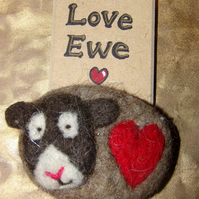 """Love Ewe"" woolly Valentines Wall Plaque"