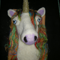 Needle felt Unicorn on vintage gold fabric