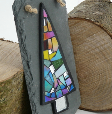 Rainbow Mosaic Christmas Tree on Slate