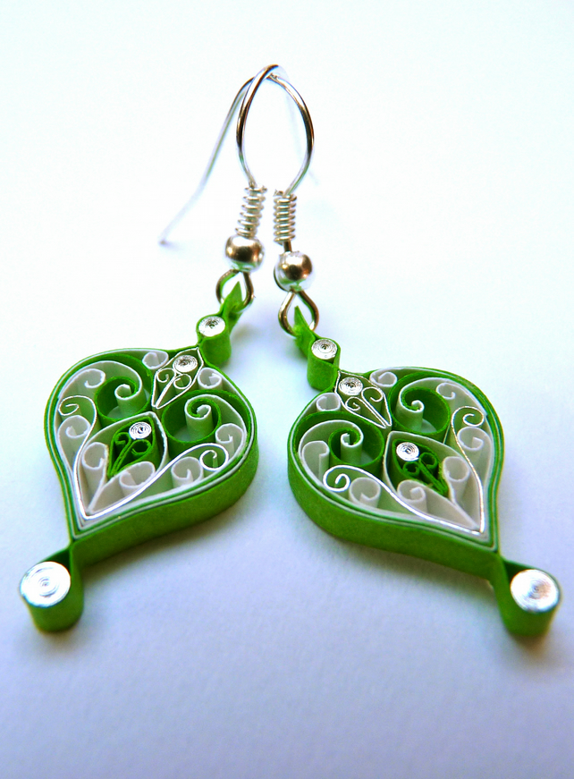 Quilling Earrings Designs Images : Earrings - Eco-friendly, Paper, quilled, quilling - Folksy