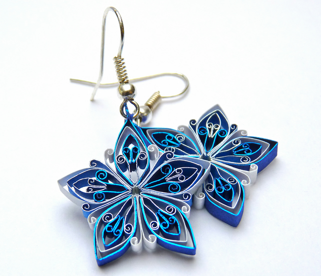 Christmas earrings, Eco-friendly, quilled