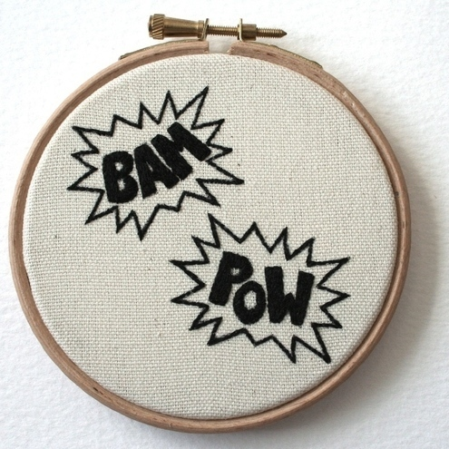 BAM POW Holy Stitchery Batman Hand Embroidered Plaque